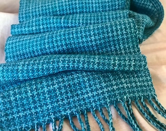 Hand woven Merino Teal checks scarf - one of a kind