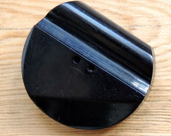 1930's  Extra Large Black Art Deco Carved Bakelite Galalith Button