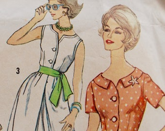 1950's American Vintage SEWING PATTERN - Simplicity 3932 - Culotte Dress Rockabilly sundress Bust 41 UK 16- 18 Plus size