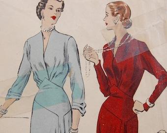 1930's VOGUE Dressmaking pattern Long Evening Dress V neck with godet in column skirt UK12 US8