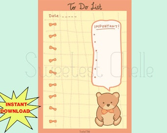 cute printable a5 page printable to do list telephone etsy