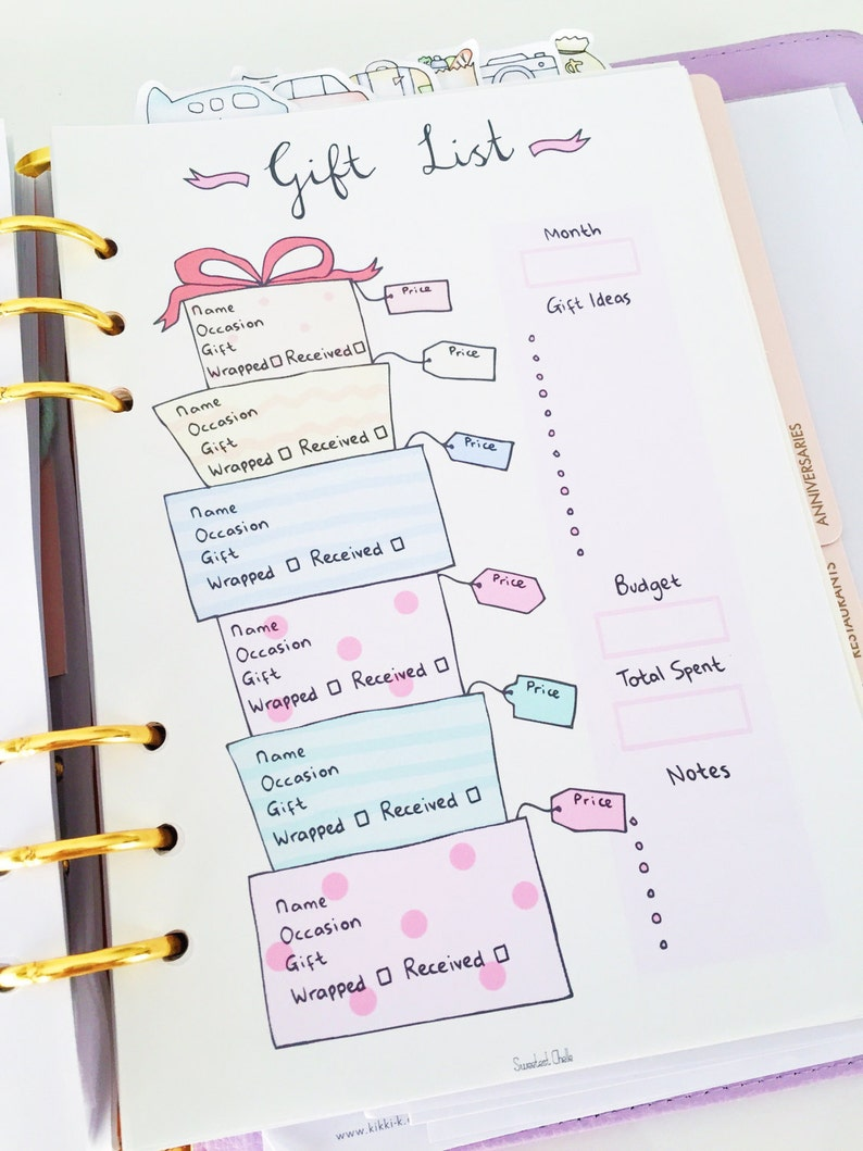 Cute Printable A5 Page Gift List Tracker