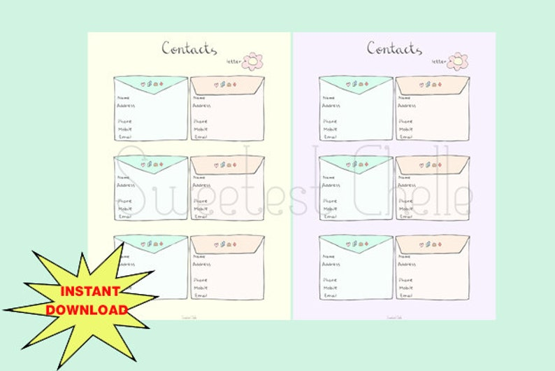 picture relating to Cute Printable Address Book named Lovable Printable A5 Site (2 colors) - Printable Get hold of Record - Cover Reserve Website page - Contacts - Letter Concept - Planner Incorporate