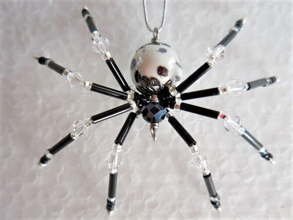image 0 - Beaded Christmas Spider Black And White Christmas Ornament Etsy