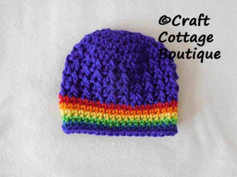 2db87c174b6 Rainbow Baby Hat Crochet Green Yellow Blue Purple Red Orange