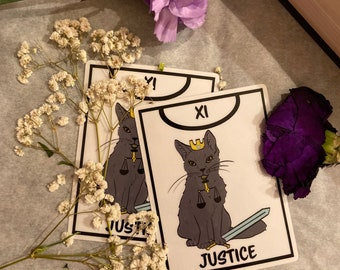 Clear Justice Tarot Card Stickers Black Cat