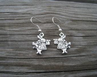 Alice in Wonderland Earrings- Rabbit Earrings-White Rabbits