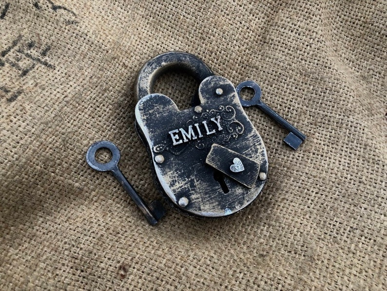 Best Friends Gift Idea Personalized Antique Padlock With Two Etsy