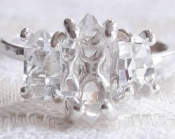 Three Stone Herkimer Diamond Quartz Crystal Ring - Anniversary Ring - Rough Crystal Engagement Ring - Past Present Future - Raw Stone Ring