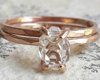 Rose Gold Fill Herkimer Diamond Wedding Set - Raw Crystal Bridal Set - Rough Stone Wedding Rings