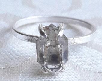Smokey Herkimer Diamond Quartz Crystal Ring - Smoky Quartz Ring - Unique Engagement Ring - Raw Crystal Ring - Rough Stone Ring - Gaias Candy