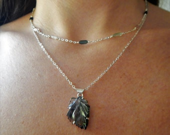 Carved Tourmaline and Sterling Silver Necklace - Ready to Ship - Multistrand Necklace - Leaf Necklace - Boho Necklace - Silver Necklace