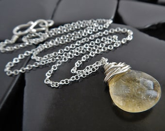 Wire Wrapped Citrine and Sterling Silver Pendant, Minimalist Necklace, November Birthstone, Citrine Necklace, Yellow Gemstone Pendant