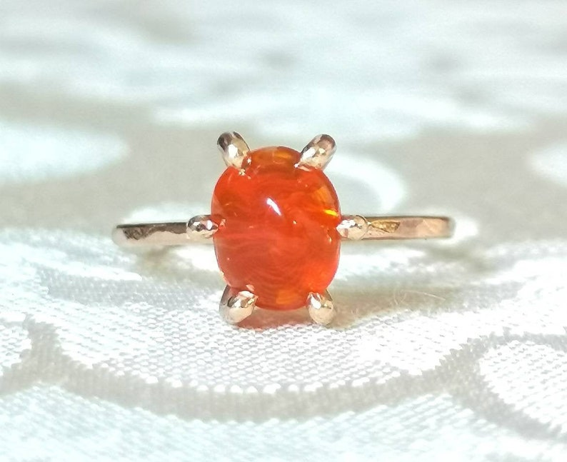Ethiopian Fire Opal Silver Ring October Birthstone Natural Fire Opal Oval Cabochon Dainty Boho Ring Sterling Silver 925