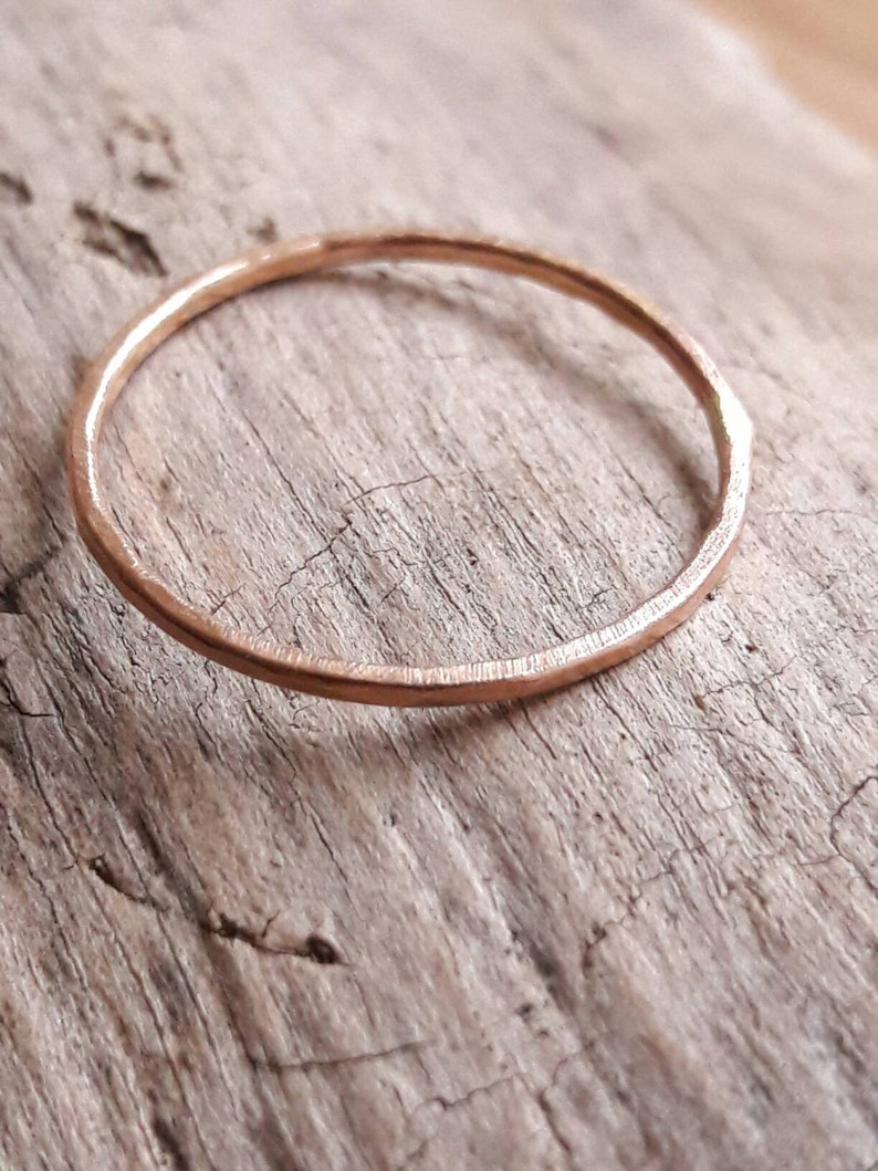 Thin Gold Ring Band Delicate Rose Gold Ring Solid Gold Red Gold Ring 1mm Rose Gold Stacking Ring Minimalist Ring Filled Gold