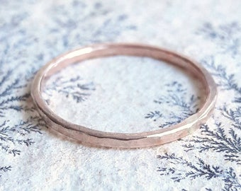 Simple Rose Gold Ring - Rose Gold Fill - Pink Gold Ring - Rose Gold Stacking Ring - Hammered Gold Ring - Rose Gold Wedding Band - Minimalist