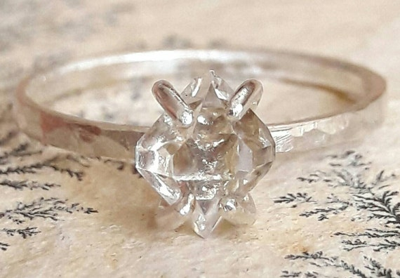 Herkimer Diamond Quartz And Sterling Silver Ring Silver Etsy