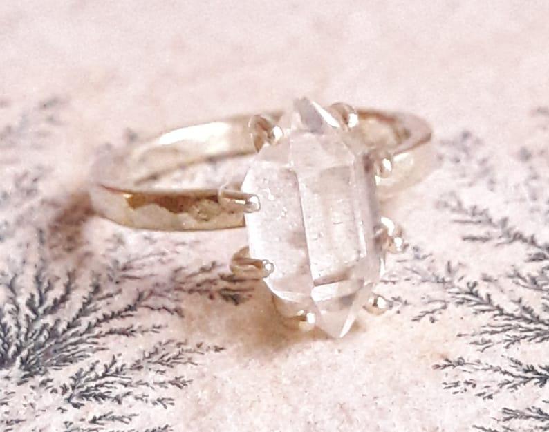 Solid Gold Herkimer Diamond Quartz Crystal Ring Solid Gold Etsy
