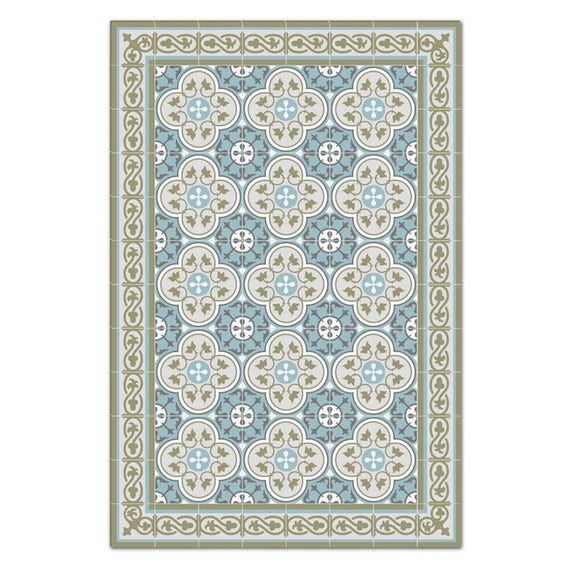Kitchen Mat Mat Floor Rug Kitchen Decor Rustic Kitchen Decorative Tiles Designed Kitchen Printed Mat Pvc Mat Green Gray Blue 178