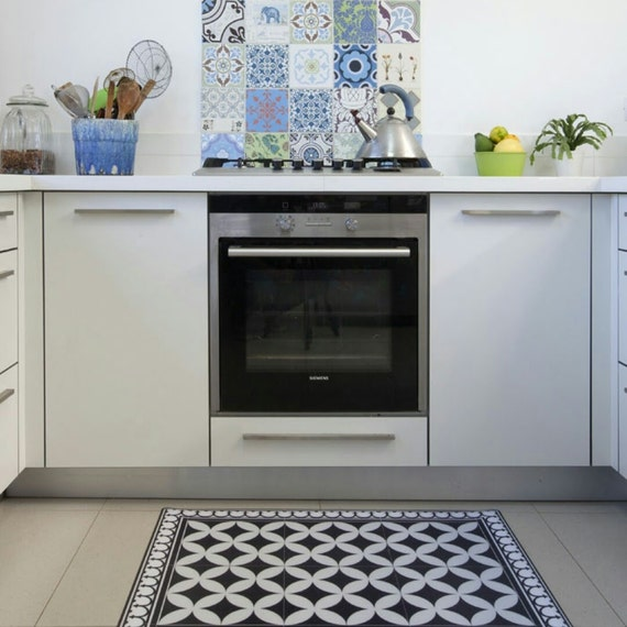 Kitchen Mat Kitchen Decor Mat Rustic Kitchen Decorative Tiles Designed Kitchen Printed Mat Pvc Mat Black White No 132