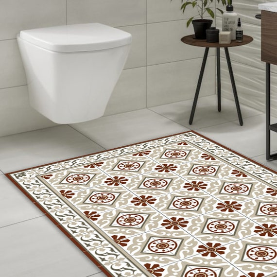 Bordeaux /& Gray Kitchen vinyl mat custom size #210 Tiles design Moroccan style Decorative  linoleum rug living room decor bathroom mat