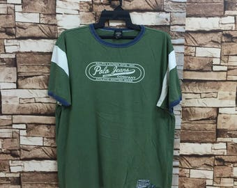 Vintage POLO JEANS t shirt.. ralph lauren t-shirt.. big logo spellout..  green size XL.. vintage t-shirt f9bfcda58