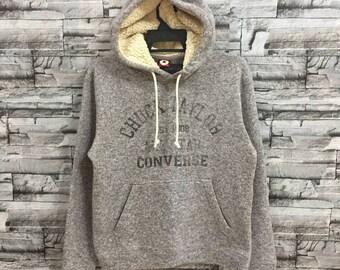 Vintage Converse hoodie big logo spellout.. vintage sweatshirt.. size M light gray