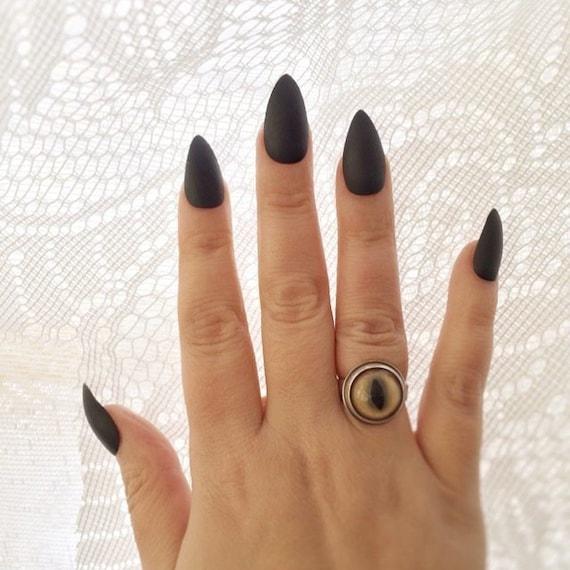 Matte Black Stiletto Nails OR glossy Set of 20 black