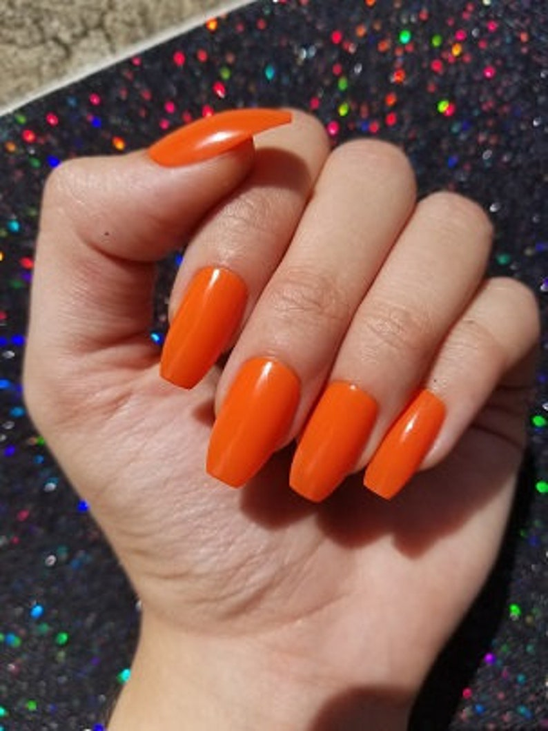 Orange Nails With Chevron And Glitter Nail: Orange Nails Set Of 20 Coffin Nails Press On Nails