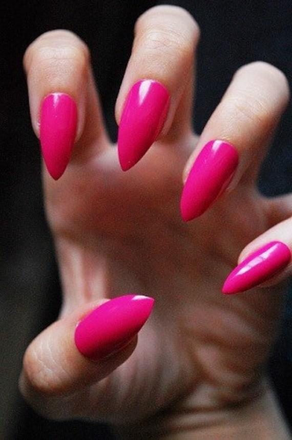 Barbie Pink Nails Set of 20 hot pink nails pointy nails | Etsy