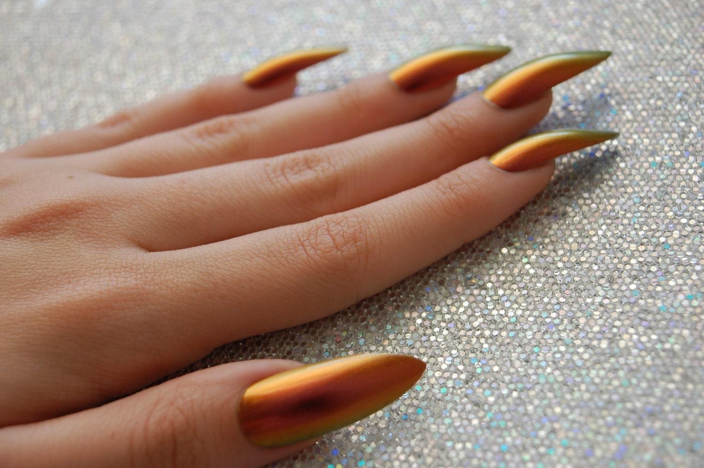 Fire Chameleon Nails - Set of 20 (CHOOSE SHAPE) - chameleon nails ...