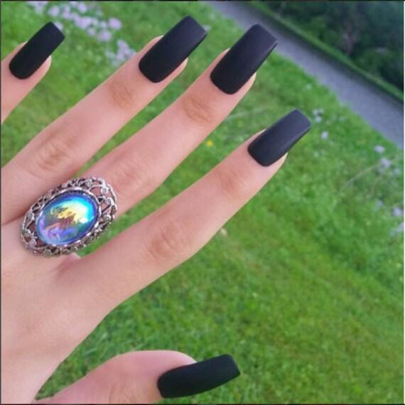 Long Matte Black Squared Nails (OR Glossy) - Set of 20 - black nails ...