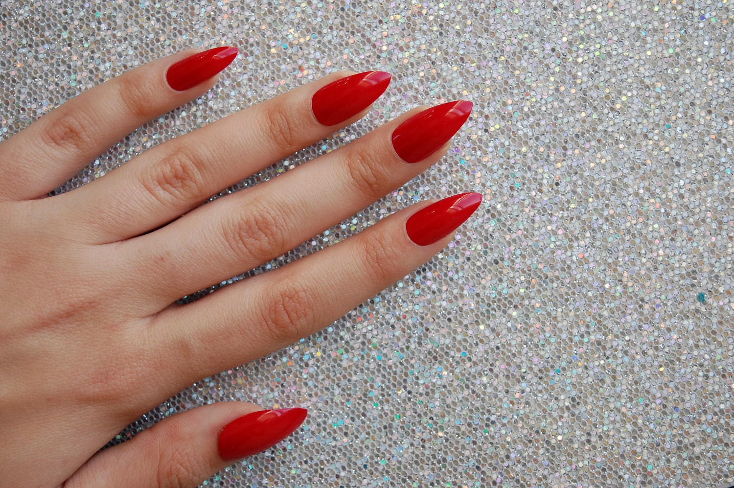 Bright Red Full Cover False Nails -Set of 20- stiletto nails, fake ...