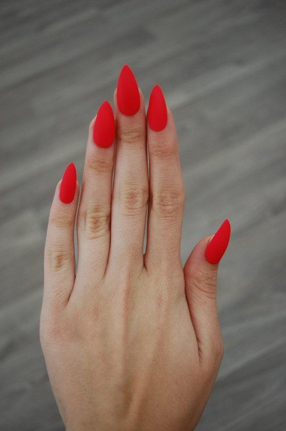 Bright Red-Orange Coral Full Cover Stiletto Nails *Set of 20* [Matte ...