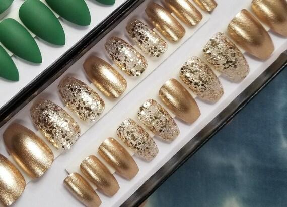 Gold Auf Gold Set Von 20 Nagel Goldenen Nagel Kunstliche Etsy