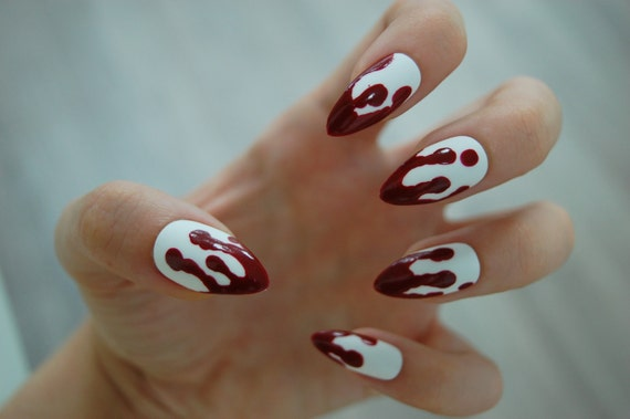 White Or Clear Base Dripping Blood Nails Set Of 20 Fake Etsy