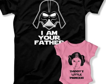 0bef78fc Father Daughter Matching Shirts Gift Daddy and Baby Shirt I Am Your Father  Daddy's Little Princess Family Clothing Shirt Baby Bodysuit
