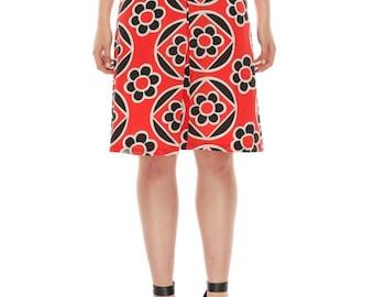 Linda Pleat Silk Skirt - Red blossom Silk print