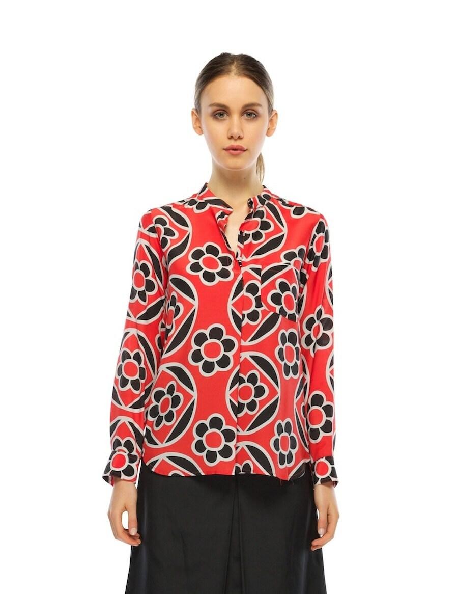 Lets Go Silk Shirt Red Blossom Silk Print Etsy