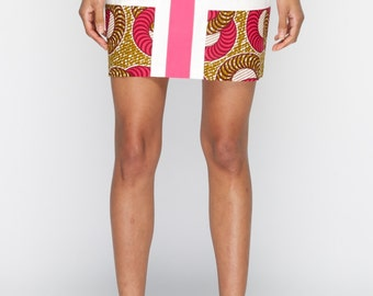 Yes It's Me Mini Skirt -Plain Panel Pink Circle print