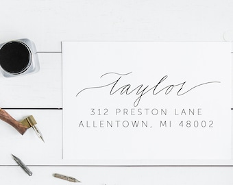 Hand Lettered Address Stamp Calligraphy Address Stamp Custom Address Stamp Personalized Return Address Stamp Wedding Gift Modern Self Ink