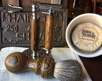 Handmade Premium Bocote Shave Set *Available Now and Ready To Ship* Shaving Kit