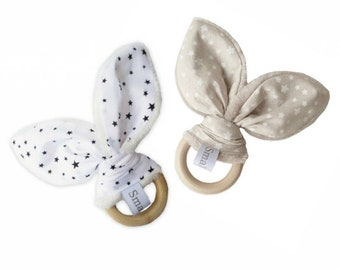 Rattle ring teething wooden rabbit ears and white cotton stars black or beige white stars