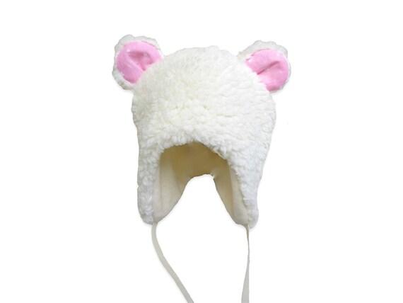 6a481339d9e7 Bonnet bébé ours écru à oreilles rose étoilé   Etsy