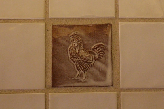 Cockerel Tile Rooster Chicken Handmade Tile Farm Kitchen Etsy
