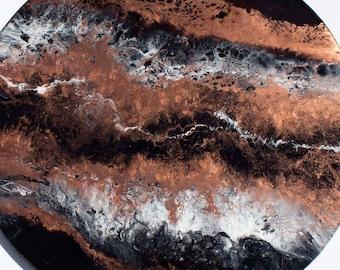 Epoxy resin abstract multi layer wall art painting 60cm round - Cosmic Dark
