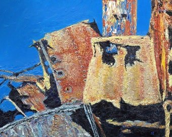 Large textured oil painting on a shipwreck theme- Cherry Venture - Amour