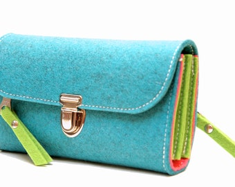 PLASTIC-FREE! colorful felt - purse made of wool felt, made in Germany, handmade with love, wallet sustainable, by KHAFFEE