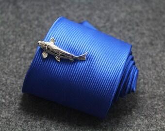 silver fish  tie clip