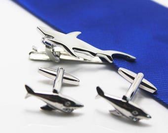 silver shark tie clip set hero tie clip wedding gift